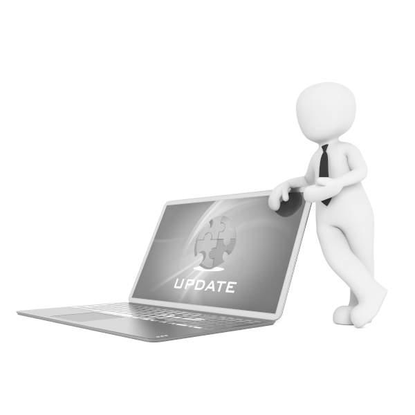 illustration personnage devant ordinateur