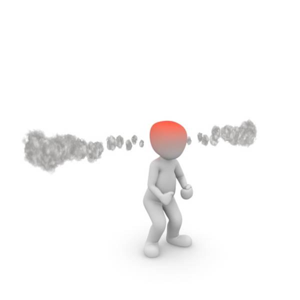 personnage blanc enervé avec tete rouge et fumee qui sort des oreilles