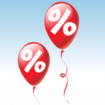 deux ballons rouges marqués du symbole pourcentage en blanc